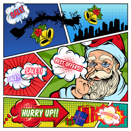 the divided: Christmas sales comics page with santa claus speech bubbles gift boxes on colorful divided background vector illustration