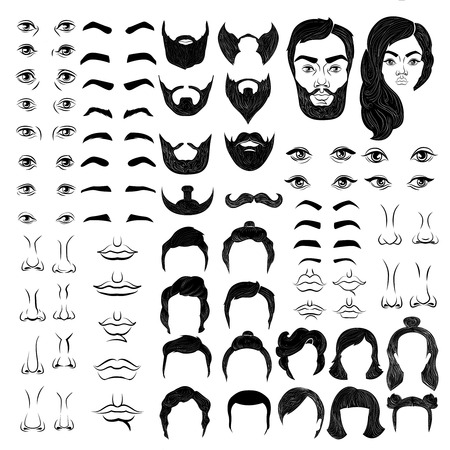 feature: Female and male faces monochrome constructor with eyes and brows noses and mouths hairstyles isolated vector illustration Illustration
