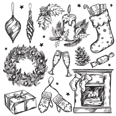 illustraiton: Sketch christmas gifts icon set with Christmas attributes and traditions in black color vector illustraiton