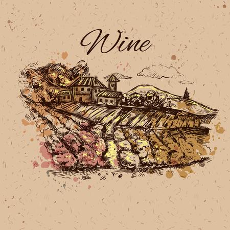 Disegnato a mano paesaggio di vigneto campo di composizione con uve in crescita su sfondo beige e titolo illustrazione vettoriale vino