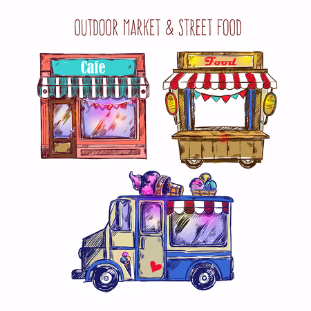 caf: Outdoor market sketch icon set with ice cream van caf an food truck vector illustration