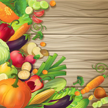 Fresh vegetables on wood conceptual composition with cartoon symbols of ripe organic food on brown wooden background illustration