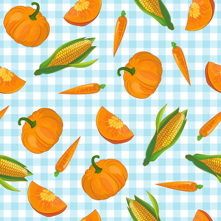 Drawn pumpkin carrot and corn symbols vegetable pattern on light blue checkered tablecloth background flat illustration