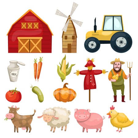 Set with plenty of colorful isolated farm symbols buildings animals characters natural food and organic vegetables illustration Illustration