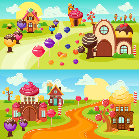 Landscape sweets and candy horizontal banners set with colorful cartoon style world houses and country road illustration Иллюстрация