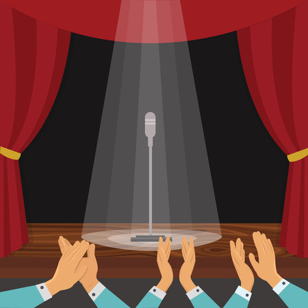 Clapping of spectators and theatrical stage with red curtain and microphone in rays of light illustration