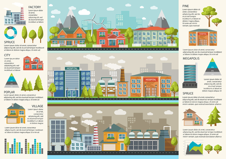 megapolis: Urbanity infographics template with environmental infrastructure in megapolis factories and residential houses charts and statistics illustration Illustration