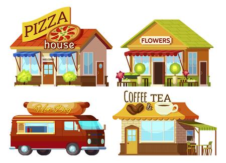 ortseingangsschild: Cartoon-Stil Straße Restaurant Fronten und Food Truck Set mit Zeichen und Teppichen der verschiedenen Farbe Abbildung Illustration