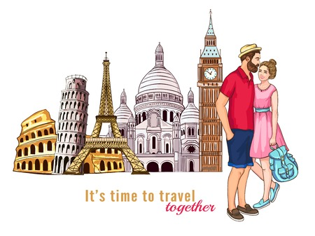 Colored europe travel tour characters composition with couple in love in the foreground illustration Illustration