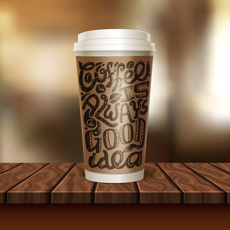 Realistic coffee to go cup composition with paper cup of coffee on the wooden table illustration Illustration