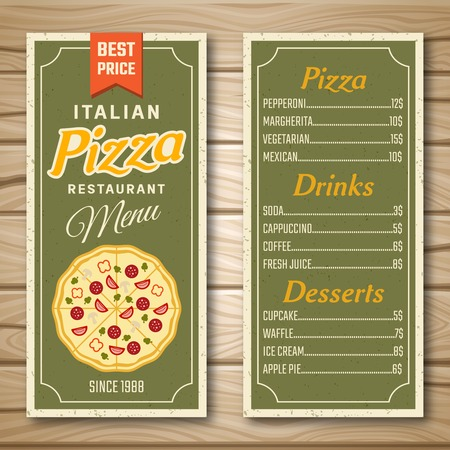 margherita: Restaurant menu in green color with italian pizza drinks desserts on wooden background isolated illustration