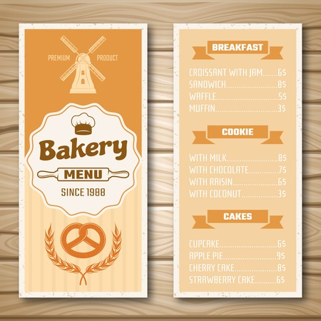 bakery price: Bakery shop menu with mill at cover and product price list on wooden background isolated illustration Illustration