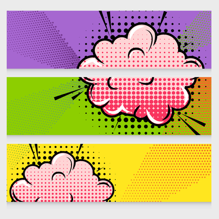 Comic sound effects banners set with dot pattern clouds and rays on textured background isolated illustration Illustration