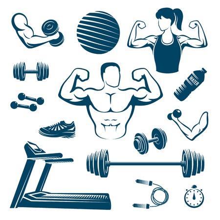 Fitness monochrome elementen instellen met gespierde man en vrouw loopband halter en barbell bal geïsoleerde illustratie