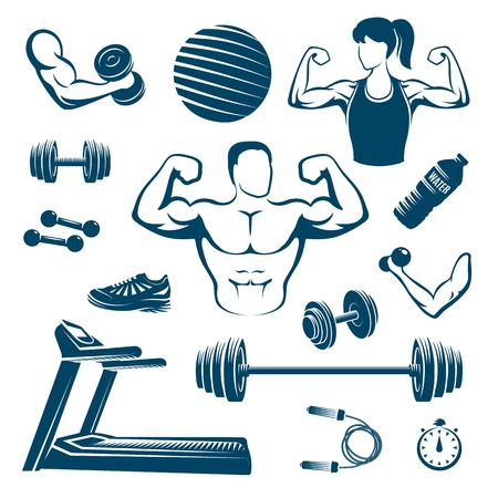 Fitness monochrome elements set with muscular man and woman treadmill dumbbell and barbell ball isolated illustration