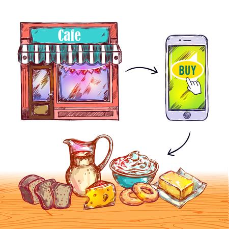 delivered: Colored online order food shop composition with set of product that are delivered illustration Illustration