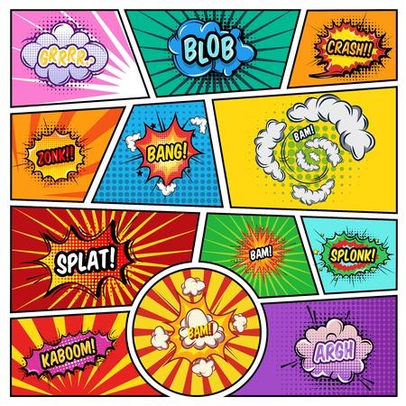 Pagina di fumetti di effetti di rumore con i fumetti di varia forma sull'illustrazione strutturata del fondo delle linee di divisione