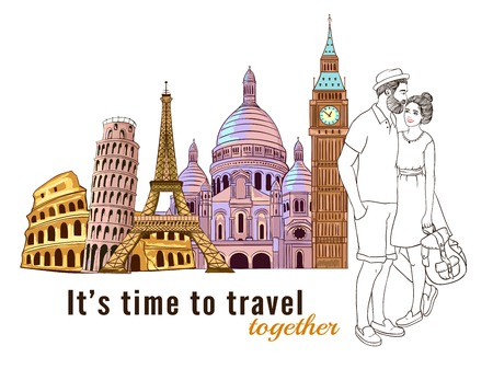 Colored europe travel couple composition with its time to travel together and figures of attraction illustration