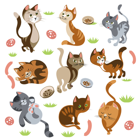 Isolated cartoon images of kittens with different behaviour and coat pattern small shrubs petfood and sausages illustration