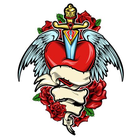 Gebrochenes Herz Tattoo-Design mit Dolch und Vogelflügel roten Rosen und Blätter weißes Band Illustration