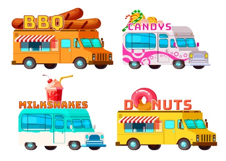 Four isolated cartoon colorful food trucks selling bbq donuts sweets and cocktails with appropriate signs illustration