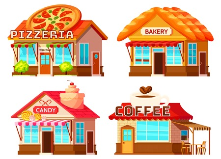 Isolated coffee bakery pizzeria and candy shop colorful storefronts with windows tents and decorative roof illustration