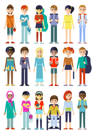 Set of eighteen isolated full length kid characters in cartoon style images on blank background flat illustration Stock Vector - 67485815