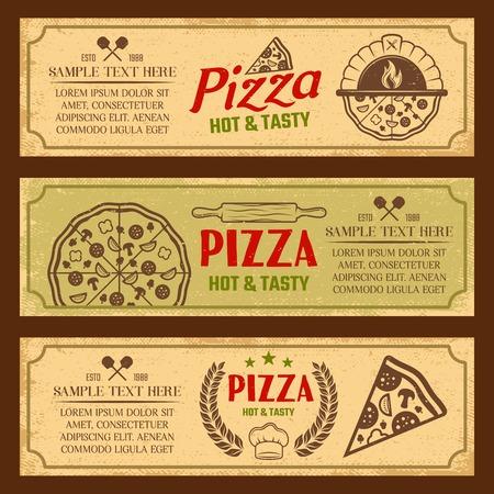 Conjunto de banners horizontales en estilo vintage con horno de pizza y las herramientas culinarias aislado de la ilustración