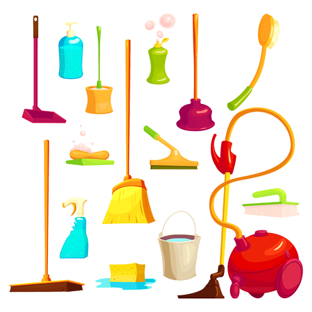 Isolated cartoon style set with icons and images of cleaning utensils janitorial supplies and houseware illustration Illustration