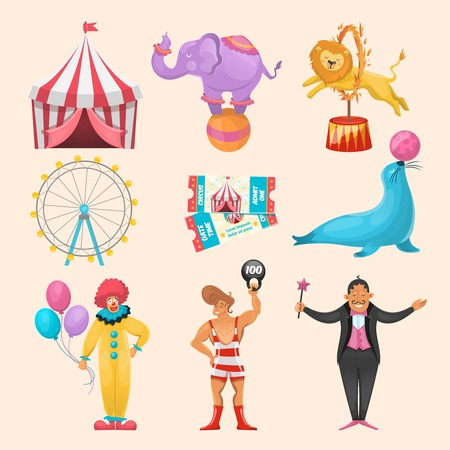 Colorful set of different circus characters animals amusement rides event tickets and stripped marguee symbols illustration Illustration