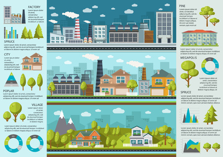 Urban life infographics with industrial area environment in megapolis and village charts and statistics illustration Illustration