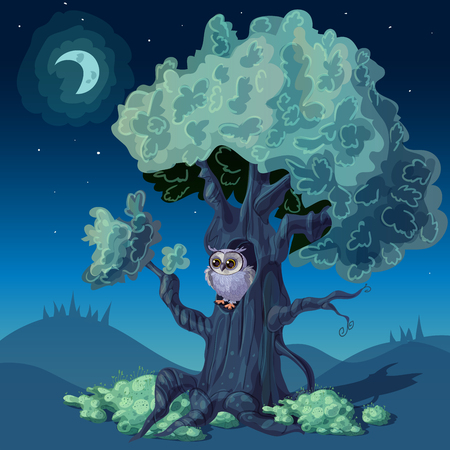 a sprig: Night forest design with owl in hollow of deciduous tree under starry sky illustration