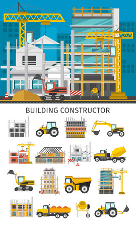 tractor warning: Construction decorative elements set with building site concept and icons of facilities and machinery isolated illustration