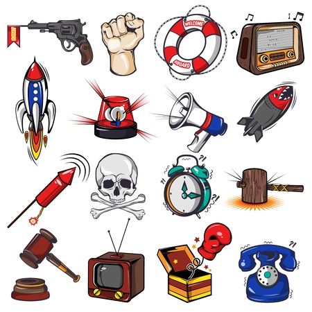 clock radio: Comics decorative elements set with weapon and rockets tv radio megaphone alarm clock gavel isolated vector illustration Stock Photo