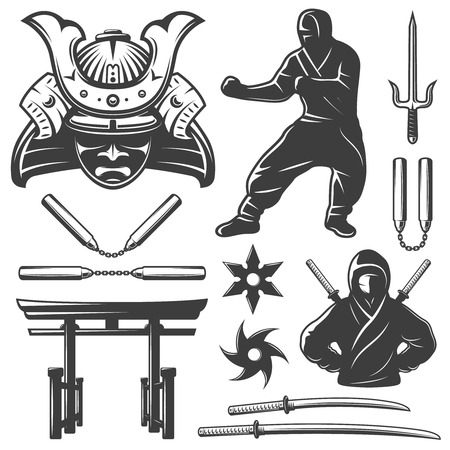 torii: Isolated monochrome set with samurai symbols and weapons including nunchucks swords and shurikens on blank background vector illustration  Stock Photo