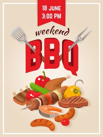 turner: Bbq food poster with drawn food meat fish and vegetables decorative letters with turner and fork illustration