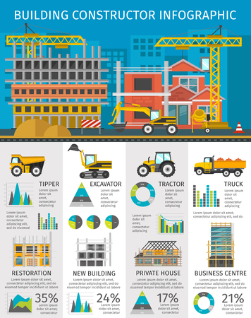 tractor warning: Building constructor infographics with site on blue background machinery and facilities charts and statistics illustration Illustration