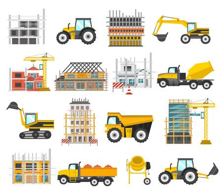 平らな要素の建設設備の建物、トラクター ・ ショベル ブルドーザー分離された図を足場とセットします。