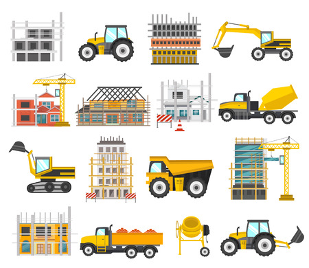 Construction flat elements set with building of facilities and scaffolding tractor and excavator bulldozer isolated illustration Illustration