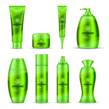 group therapy: Cosmetic series packaging design set of green color with shampoo cream deodorant and soap isolated illustration