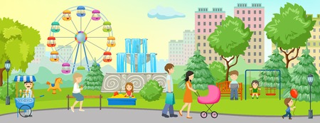 green lantern: City park colored concept with place to walk forest and homes nearby illustration Illustration
