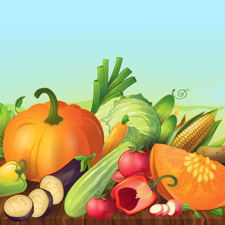 evening sky: Ripe fresh and organic cartoon vegetable symbols outdoor composition with evening sky and wooden table illustration