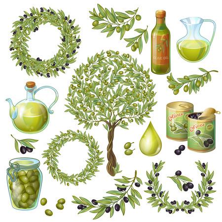 Geïsoleerde olijvenfabriek takken olie flessen blikjes en glazen potten vruchten laat symbolen op lege achtergrond illustratie Stock Illustratie