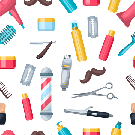 hair dressing: Pattern with hair dressing and beauty salon isolated professional tool colorful symbols and cartoon style accessories illustration