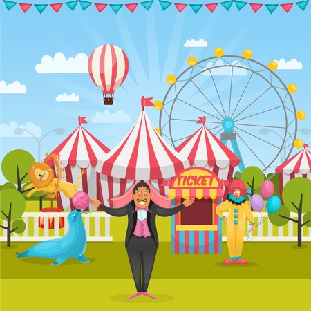 Cartoon style composition with amusement park and circus artists with tents and flying air balloon illustration