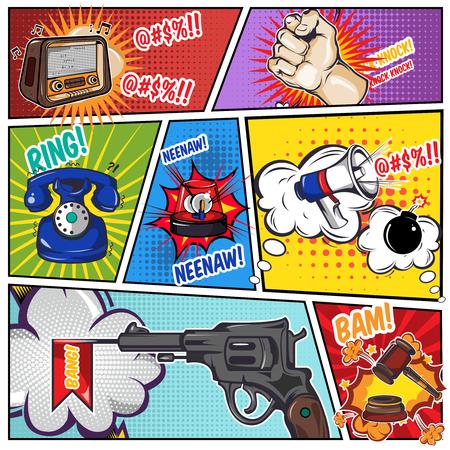 Strips boekpagina met geluidseffecten van de telefoon radio pistool op verdeelde gekleurde gestructureerde achtergrond illustratie