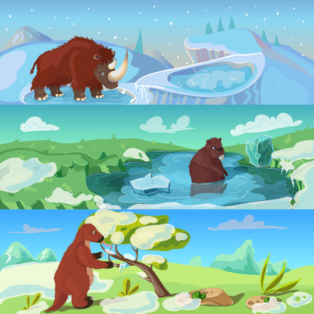 woolly: Animals ice age banners set with woolly rhino giant beaver and sloth in wildlife isolated illustration Illustration