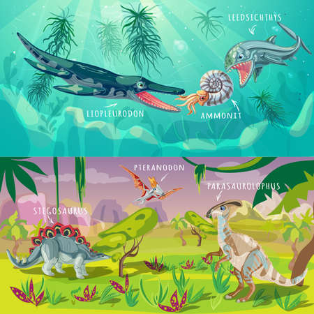 jurassic: Beasts jurassic horizontal banners with underwater life and dinosaurs in tropical climate isolated illustration Illustration