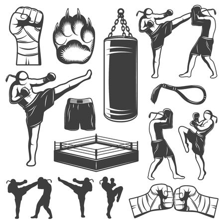 kickboxing: Isolated monochrome elements set with various kickboxing wrestling figures and symbols of punchbag and squared ring illustration