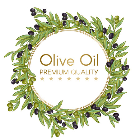 additional: Premium quality olive oil isolated round wrench composition with olives branches editable text on blank background illustration
